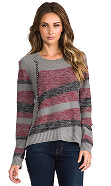 LA Made Intarsia Stripe Sweater in Rouge