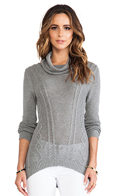 LA Made Plunge Neck Sweater in Heather Gray