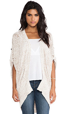 LA Made Cocoon Cardigan in Sand & White