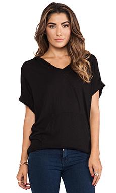 LA Made Short Sleeve Lounge Hoodie in Black