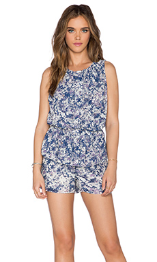 LA Made Anita Pleated Romper in Indigo