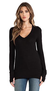 LA Made Slub Jersey Long Sleeve V Top in Black
