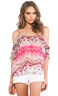 LA Made Cold Shoulder Ruffled Top in Tribal Print