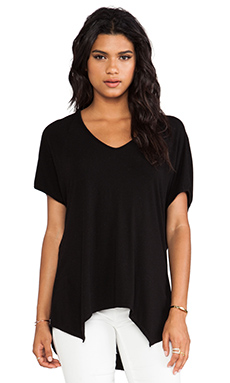LA Made Cocoon Uneven Hem Top in Black