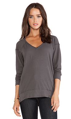 LA Made Long Sleeve Camden V Neck in Raven