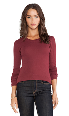 LA Made Long Sleeve Crew Neck Top in Syrah