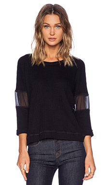 LA Made Maddy Long Sleeve Thermal Tee in Black