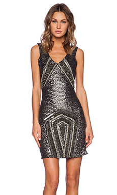 La Maison Sequin V-Neck Dress in Gold