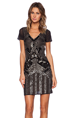 La Maison Sequin Cap Sleeve Dress in Black