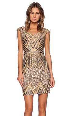 La Maison Sequin V-Neck Dress in Silver & Gunmetal