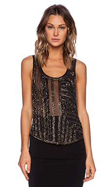 La Maison Sequin Tank in Black & Gunmetal