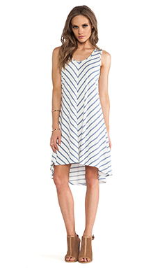 Lanston V Back Hi Lo Dress in Denim & White