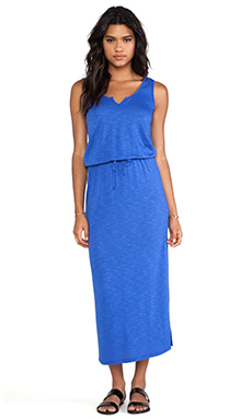 Lanston Split V Ankle Length Maxi Dress in Cobalt