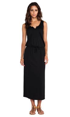 Lanston Split V Ankle Length Maxi Dress in Black
