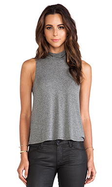 Lanston Mock Neck Tank in Black & Grey