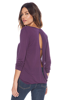 Lanston Surplice Back Top in Plum