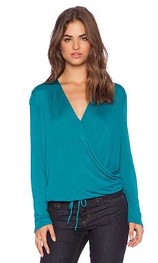 Lanston Sporty Surplice Top in Emerald
