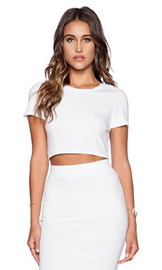 Lanston Cropped Racerback Tee in White