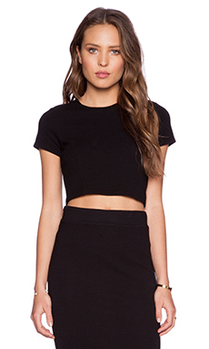Lanston Cropped Racerback Tee in Black