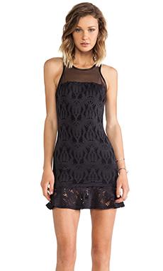 LaPina by David Helwani by David Helwani Michelle Dress in Black & Black Leather