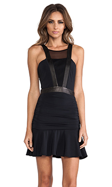 LaPina by David Helwani by David Helwani Lisa Dress in Black/Black Leather