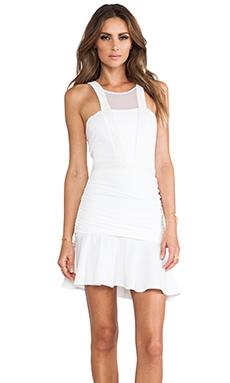 LaPina by David Helwani by David Helwani Lisa Dress in White/White Leather