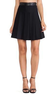 LaPina Morgan Skirt in Black & Black Leather