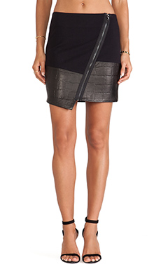 LaPina Natasha Asymmetric Hem Skirt in Black & Black