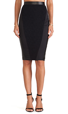 LaPina Cara Pencil Skirt in Black & Black