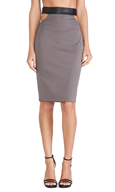 LaPina by David Helwani Bridget Skirt in Evening Grey