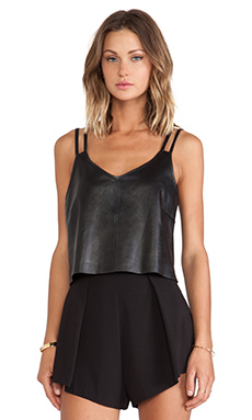 LaMarque Axel Cropped Leather Cami in Black