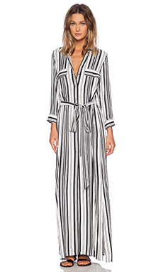 LA't by L'agence Long Tie Waist Shirt Dress in Black & White