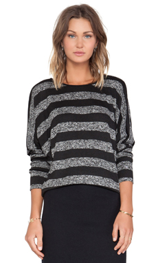 LA't by L'agence Dolman Sleeve Pullover in Black Stripe