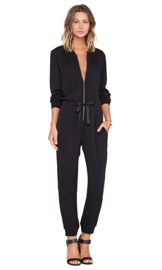LA't by L'agence Long Sleeve Two Patch Jumpsuit in Black