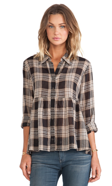 LA't by L'agence Long Sleeve Button Front Peplum Top in Black Plaid