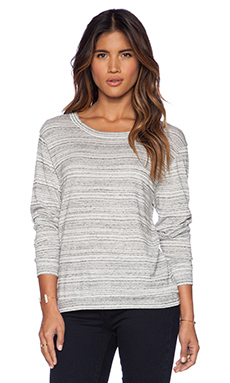 LA't by L'agence Wide Neck Pullover in Heather Grey & White