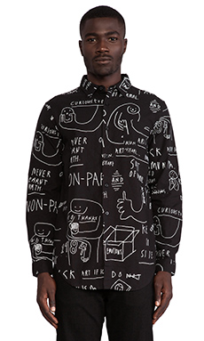 Lazy Oaf Chalkboard Button Down in Black