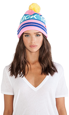 Lazy Oaf Fuck This Noise Bobble Hat in Pink