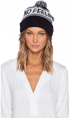 Lazy Oaf No Feelings Bobble Hat in Black