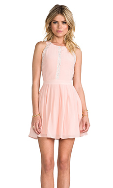 Line & Dot Lace Insert Pleat Dress in cameo Pink