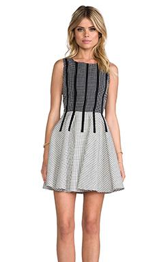 Line & Dot Binding Detail Dress in Grid Black