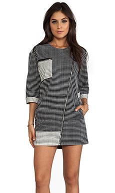 Line & Dot Binding Zip Up Dress in Grid Black