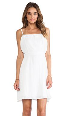 Line & Dot Linen Side Pleated Dress in White
