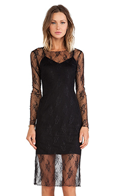Line & Dot Depp Lace Midi Dress in Black