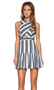 Line & Dot Dimension Dress in Blue Stripe Effect