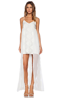 Line & Dot Infinite Maxi Dress in White