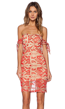 Line & Dot Embroidered Tied Tube Dress in Passion Red