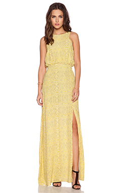 Line & Dot Shannon Maxi Dress in Gold Bentonite