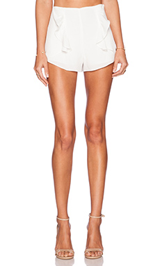 Line & Dot Side Frill Shorts in White