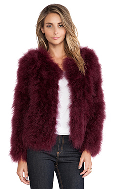Line & Dot Angelina Fur Jacket in Burgundy